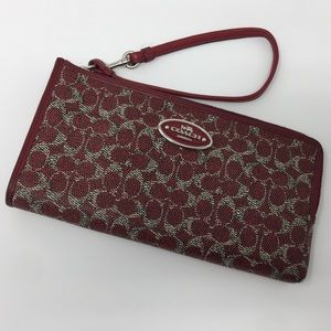 Red Coach Leather Wallet Wristlet